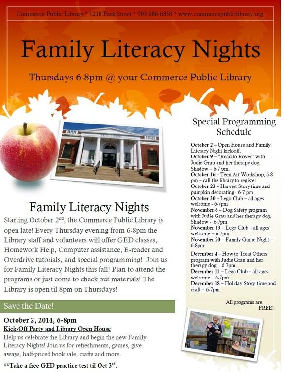 Family Literacy flyer