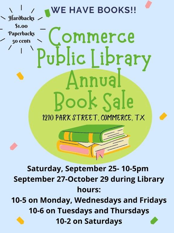 Commerce Public Library Annual Book Sale 2021.jpg